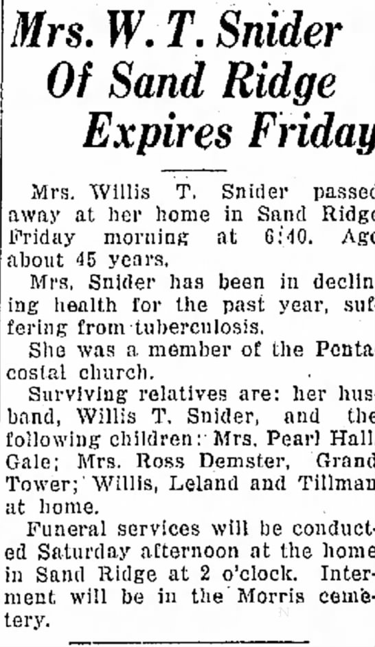 Cleta Demster / Anna Snider Obit May 21, 1926 -