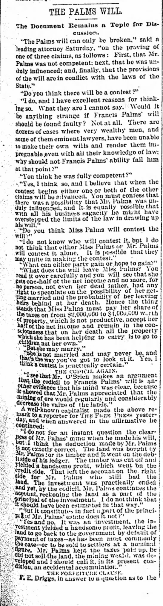 discussion of the Palms will 1886 -