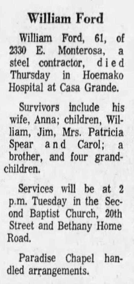 Obituary - William Ford -
