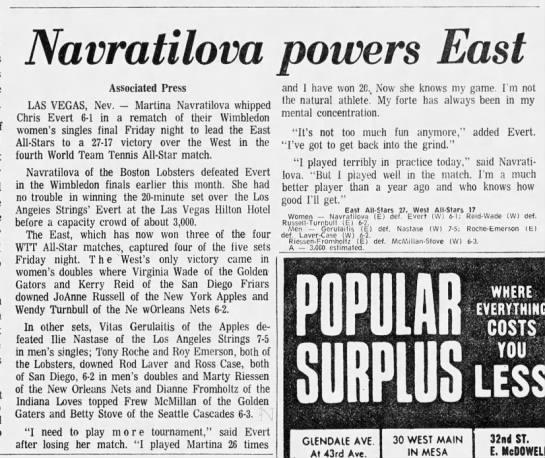 Navratilova powers East -