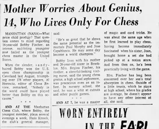 Mother Worries About Genius, 14, Who Lives Only For Chess -