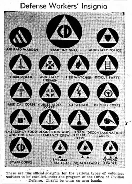 Defense Workers Insignia in 1941. Meant to be worn on armbands. Cool! -