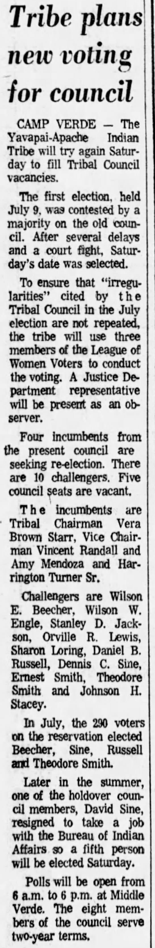 Tribe plans new voting for council. The Arizona Republic (Phoenix, Arizona) 27 October 1977, p 29 -