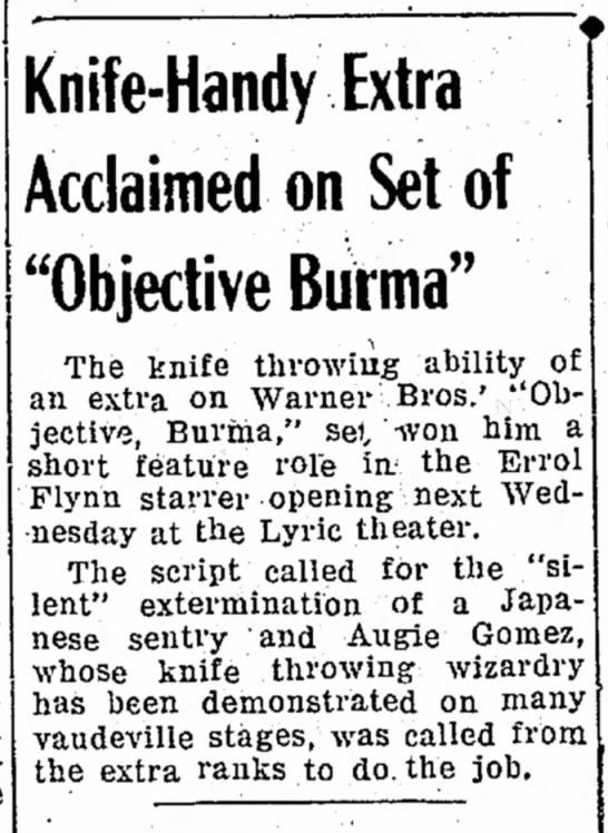 Objective Burma knife wielding story -