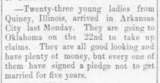 Young ladies from Illinois seek land in Oklahoma - pledge not to get married -