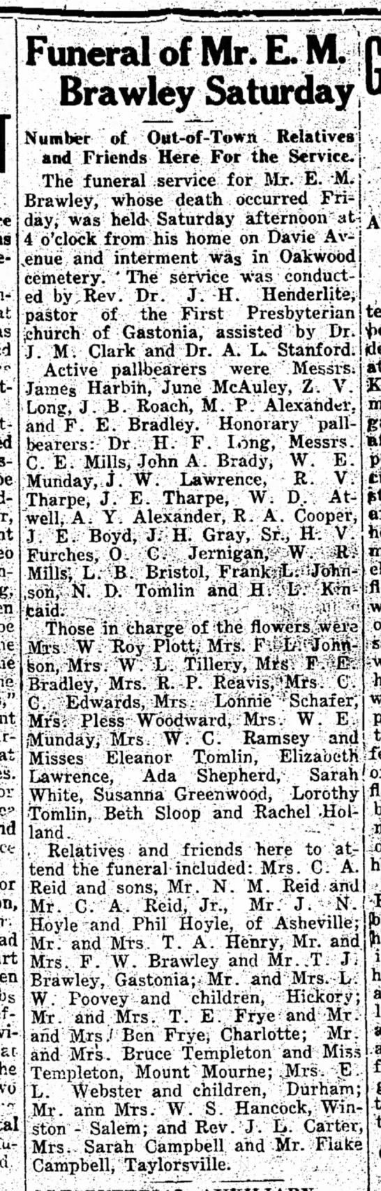 "Brawley, Ezekiel McNeely--""Funeral of Mr. E. M. Brawley Saturday"" -"