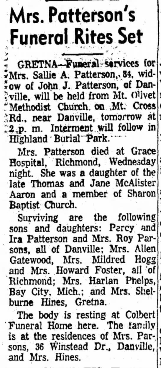 Sallie Patterson obit - Mrs. Patterson's Funeral Rites Set *Mrs. Sallie...