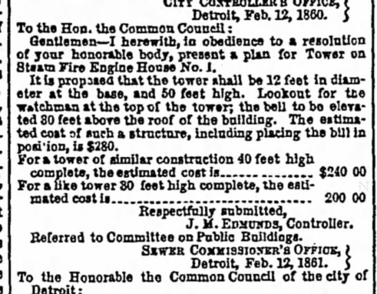 1861- costs for bell tower and bell on engine 1 -