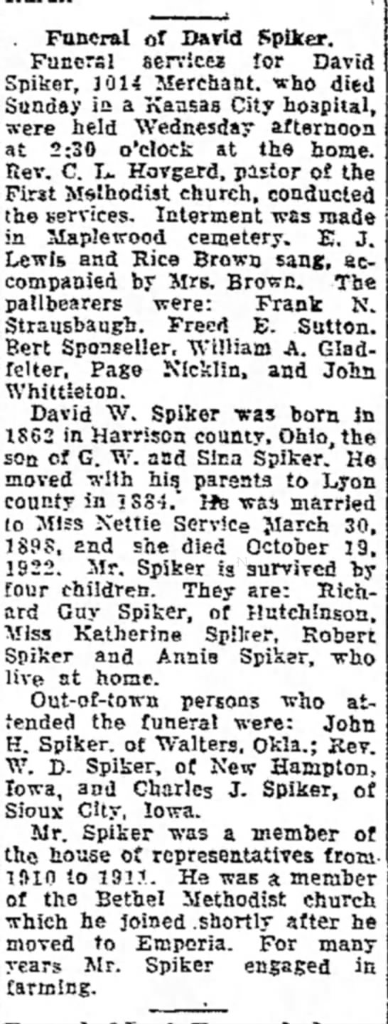Spiker David obit The Emporia Gazette (Emporia,Kansas0 3 Jun 1926 p1  -