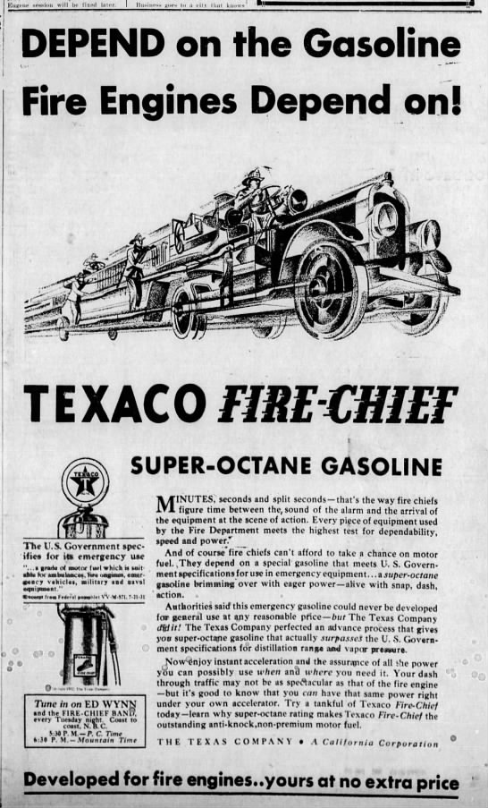 Texaco Fire Chief Super-Octane Gasoline advertisement -