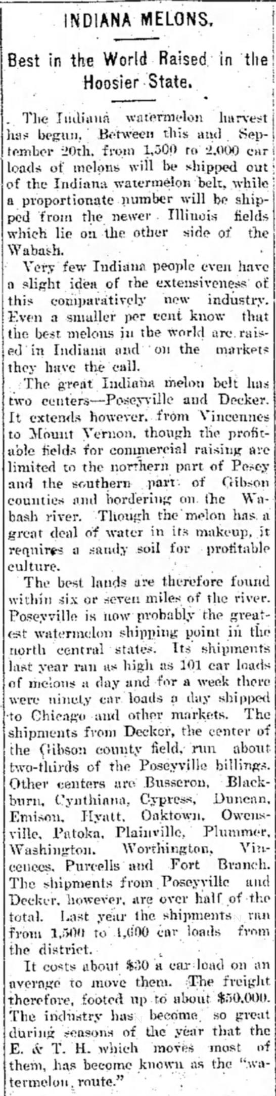 Poseyville Decker Watermelons -