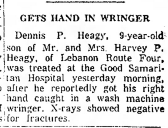 X  HEAGY - IN A WRINGER - GETS HAND IN WRINGER P. Heagy, 9-year-old : Mr....