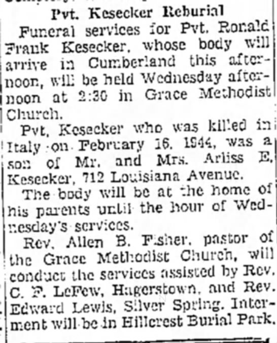 Ronald Frank Kesecker obituary - Pvt. Kesecker Ilcburial Funeral services for...