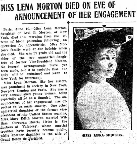 MISS LENA MORTON DIED ON EVE OF ANNOUNCEMENT OF HER ENGAGEMENT -