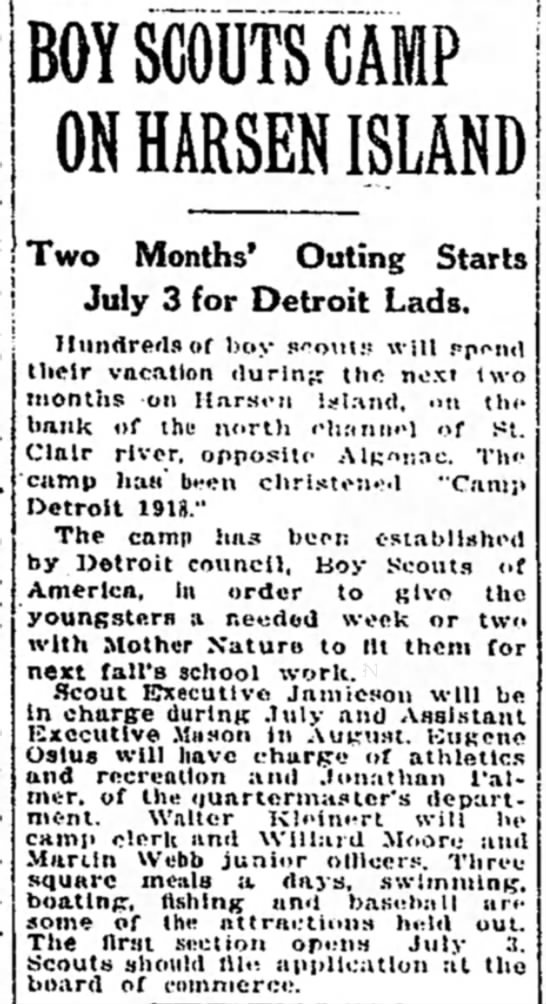 Camp Detroit. 1st Scout Camp -