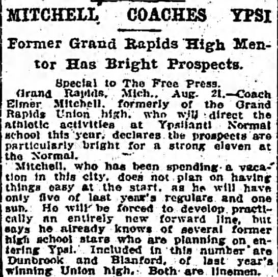 Mitchell Coaches Ypsi: Former Grand Rapids High Mentor Has Bright Prospects -