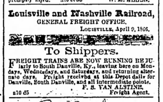 Freight trains now running to Junction City 1866 -