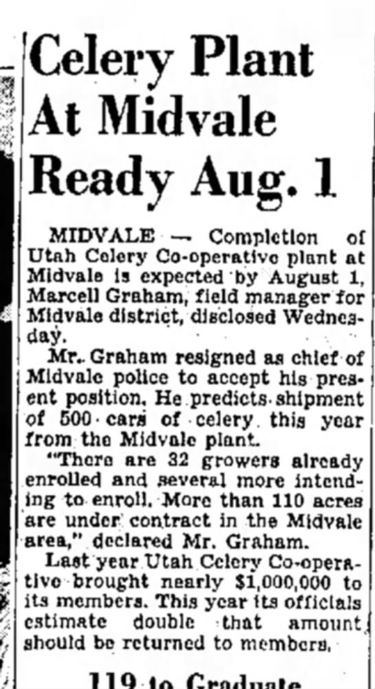 Graham resigned to take celery plant director. 5-23-46 -
