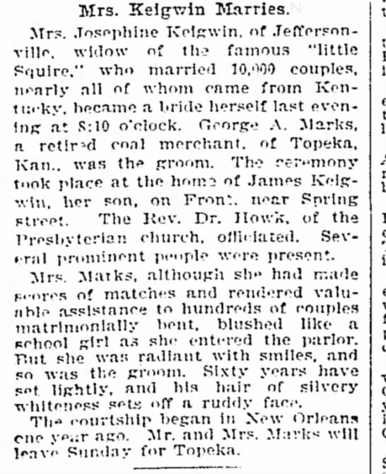 courier journal Louisville ky pg 7 8 Nov 1901 Mrs Josephine Morgan Keigwin marries -