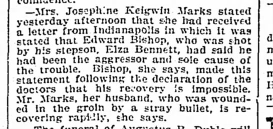 courier journal Louisville ky pg5 02 Jan 1902  Bishop confesses he was the agresser -