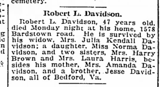 The Courier-Journal (Louisville, Kentucky), 16 Apr 1919, Wed, Page 2, Col 3 - be-ins cemetery. Robert Ij. Iavidson. Ilobert...