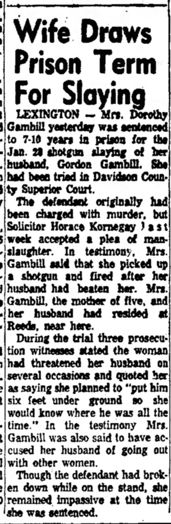 Trial results for slaying of Wm Gordon Gambill, North Carolina -