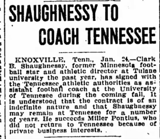 Shaughnessy To Coach Tennessee -
