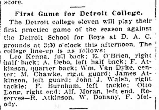 First Game for Detroit College -