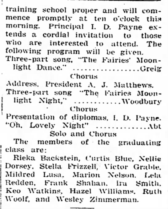 1916 Jun 2 Mildred Lus graduates 8th grade clip 2 -