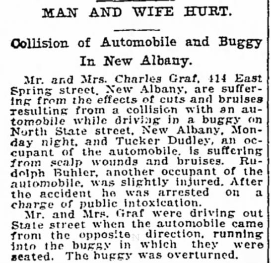 Buggy hit by automobile...Chester Graf -