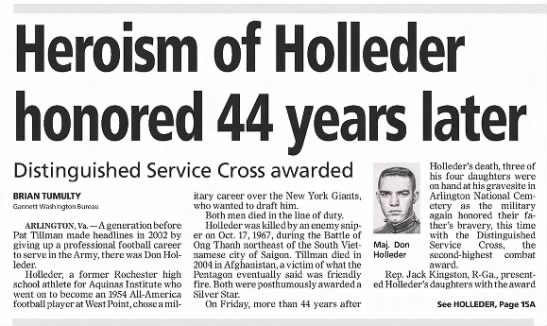 Heroism of Holleder honored 44 years later -