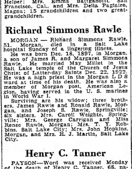 """Richard """"Dick"""" Simmons Rawle obit with errors - Francisco. Cal., and Mrs. Delia Paglalro,..."""
