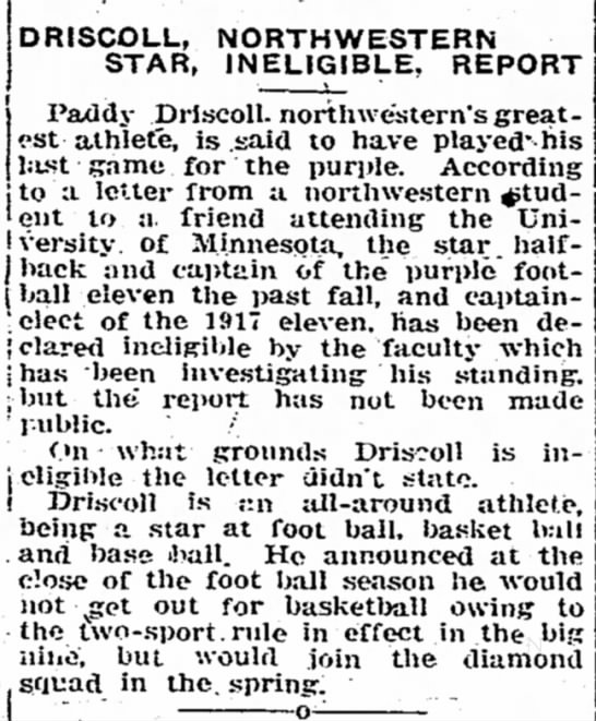 Driscoll, Northwestern Star, Ineligible, Report -