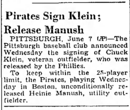 Pirates Sign Klein; Release Manush -