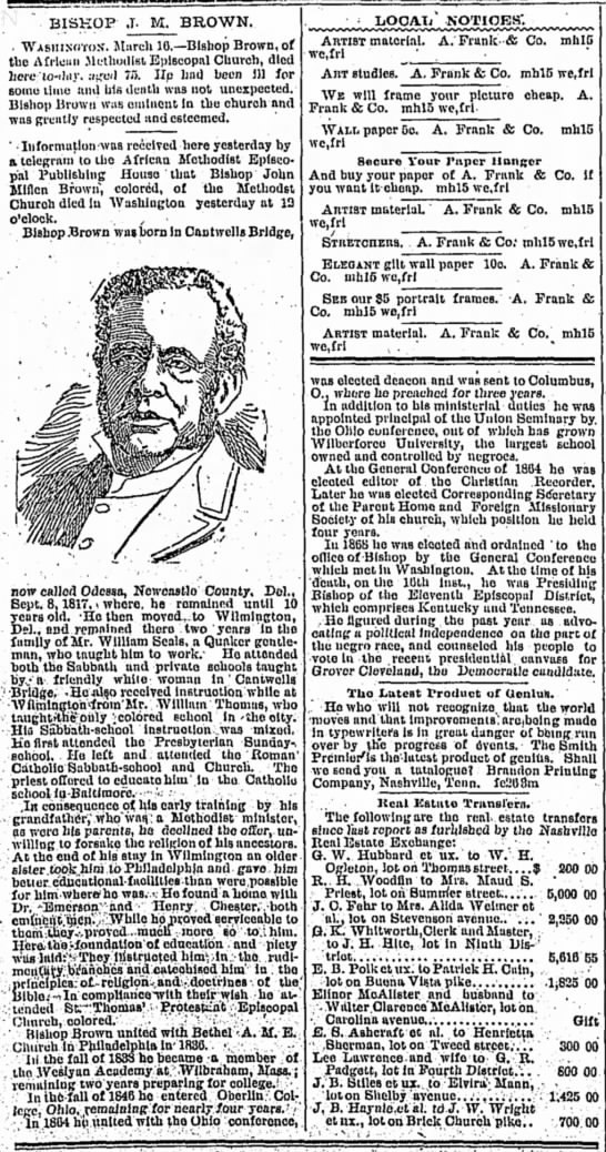 Bishop J. M. Brown, The Tennessean (Nashville, Tennessee) March 17, 1893, page 2 -