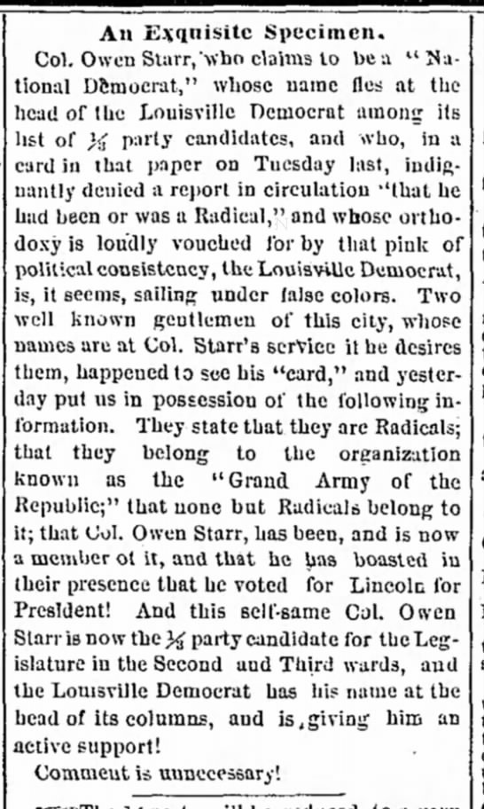 Louisville Daily Courier, Aug 1, 1867, p. 1 -
