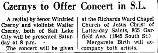 Czerny - Walter and Winfred - Czernys to Offer Concert in S.L. A recital by...