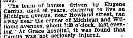 Eugene Camus and runaway horses -
