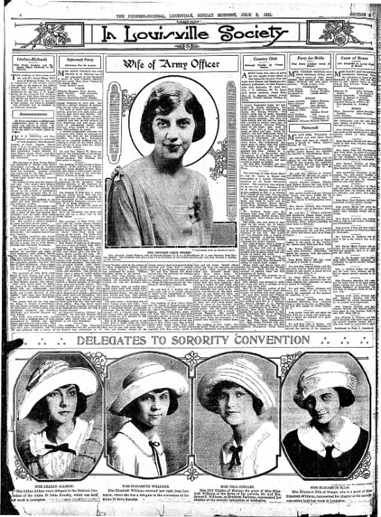 Courier-Journal social pages, 1922 -