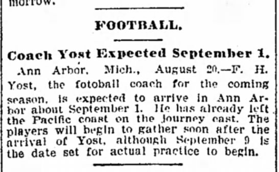 Coach Yost Expected September 1 -