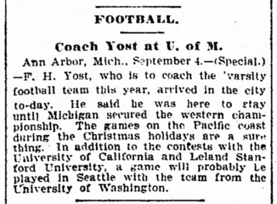 Coach Yost at U. of M. -