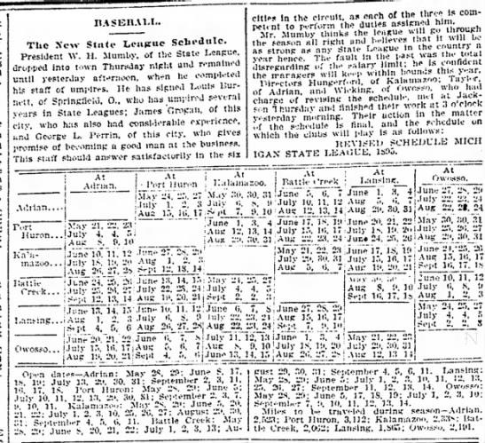 Baseball schedule, Michigan State League, May 1895 -