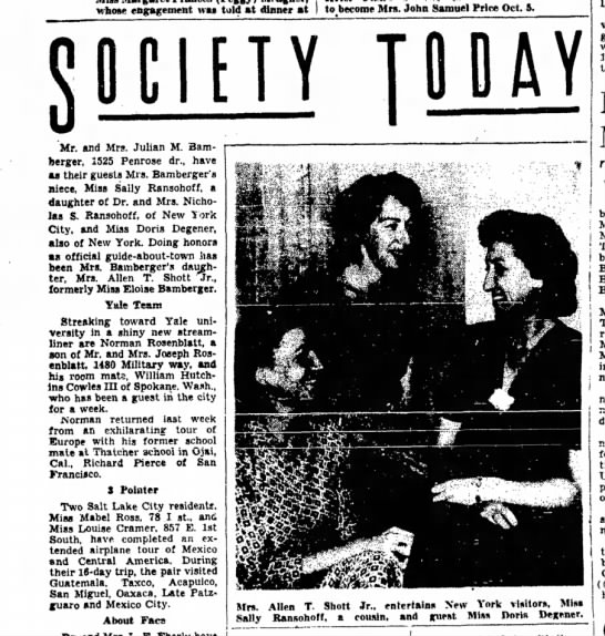 Salt Lake Tribune, 13 Sep 1949 - whose engagement was told at dinner at to...