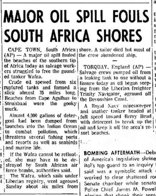 Major Oil Spill Fouls South Africa Shores (Wafra, 1971) -