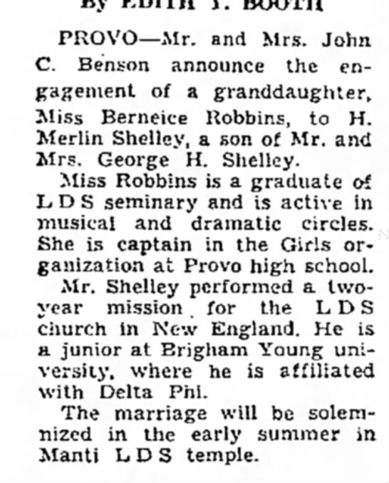 Berneice Robbins and H Merlin Shelley wedding announcement -