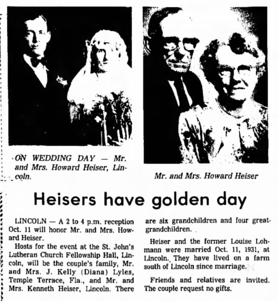 Howard Henry Heiser Anniversary -