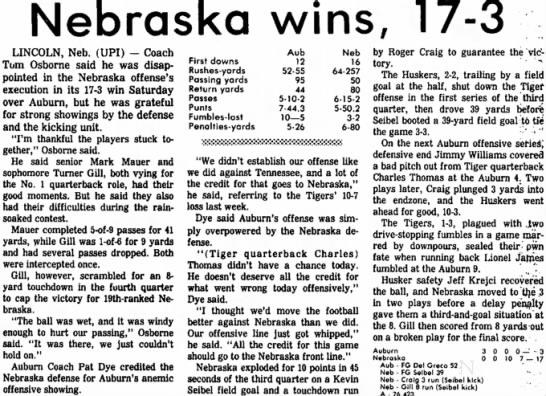 1981 Nebraska-Auburn, UPI -