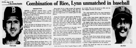 Combination of Rice, Lynn unmatched in baseball -