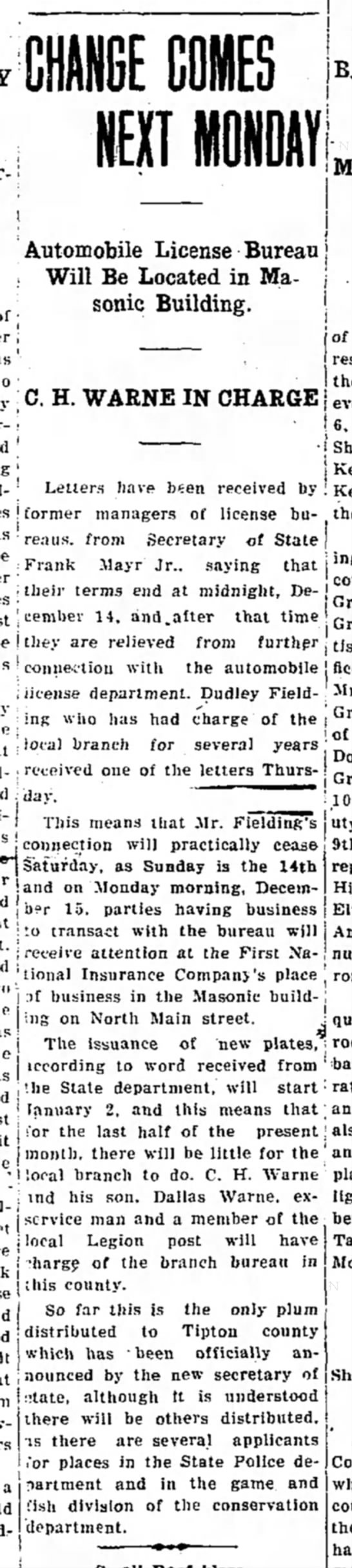 Tipton Tribune 12 Dec 1930 pg 1 col 2 -