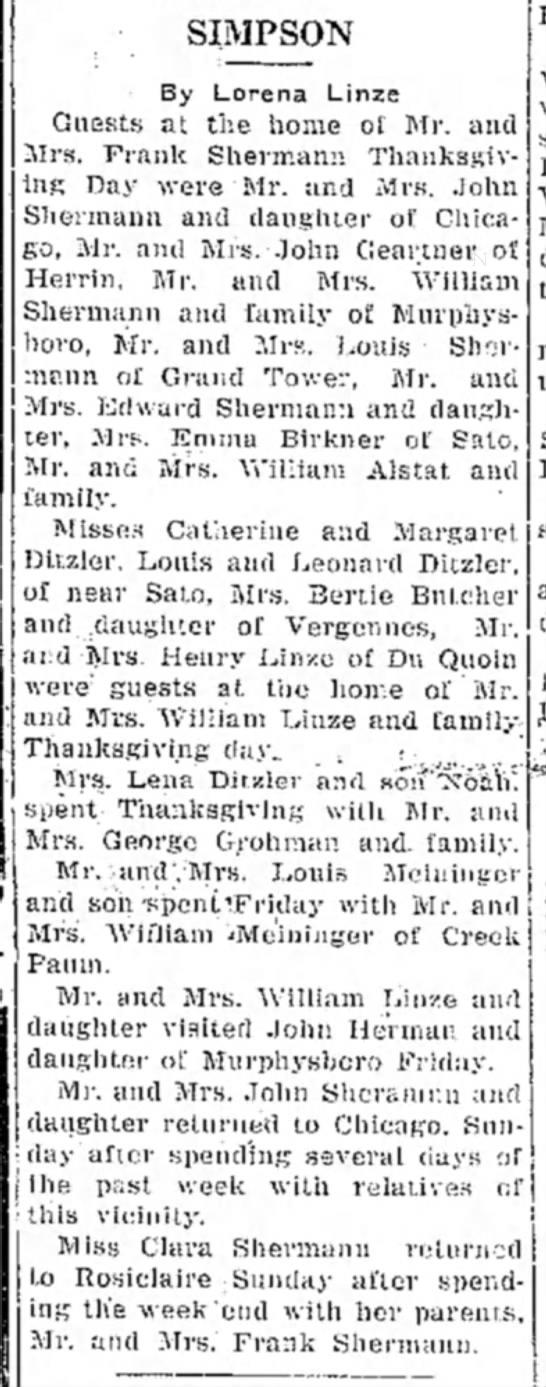 Dec 5, 1930 Thanksgiving Mr  Mrs Frank Sherman and Emma